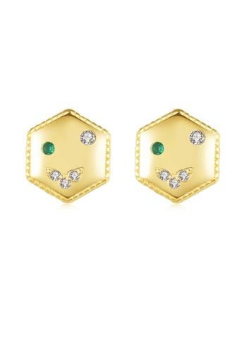 SUNRAIS gold High quality Silver S925 gold simple design earrings 8B790ACBBC90E5GS_1