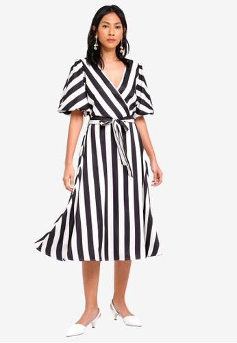 bYSI black and multi Belted Stripe Print Dress BC8B4AA4DF4D6FGS_1