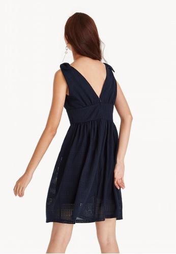 99a3b9d257c9 Shop Pomelo Midi Lace Plunging V Neck Dress - Navy Online on ZALORA ...