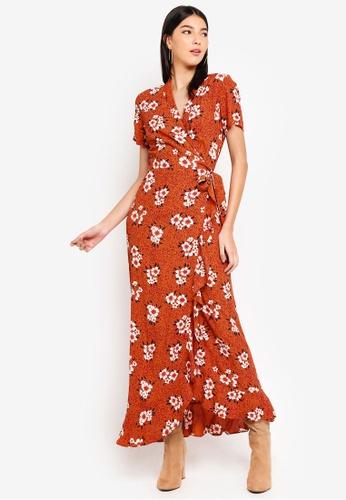 Pieces orange Selanie Short Sleeve Wrap Maxi Dress 3CE62AA4E8557EGS_1