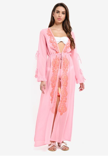 River Island pink Embroidered Maxi Cover Up 17EC7AA102F8C2GS_1