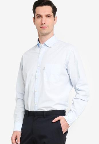 Sacoor Brothers blue Men's Plain Cotton Regular Fit Shirt 8C3AEAA711183BGS_1