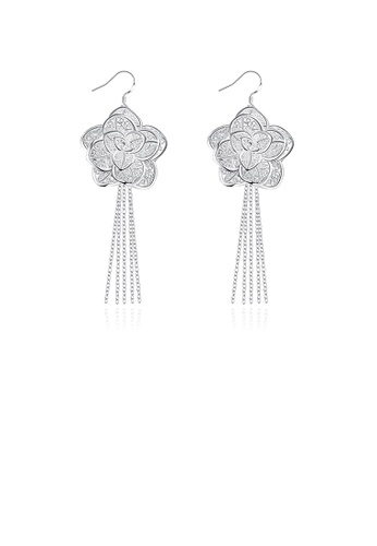 Glamorousky silver Vintage Fashion Elegant Romantic Rose Flower Long Tassel Earrings 007F7AC0CCA912GS_1