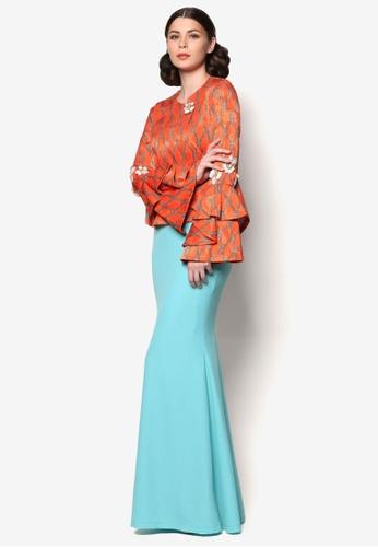 Jovian orange and blue LS for Jovian – Afifah Modern Baju Kurung JO124AA18WQBMY_1
