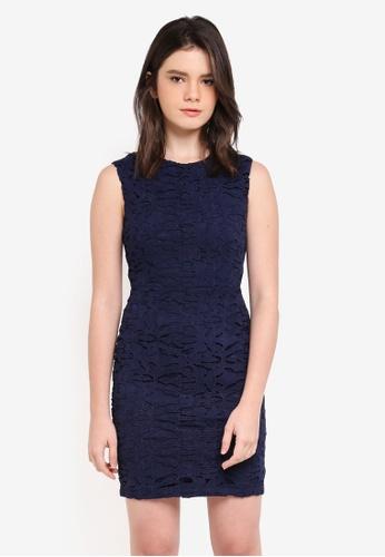 ZALORA navy Lace Pencil Dress 30C3DAA0F77942GS_1