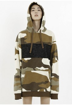 [PRE-ORDER] Washed Camouflage Cotton Fleece Hoodie in Brown