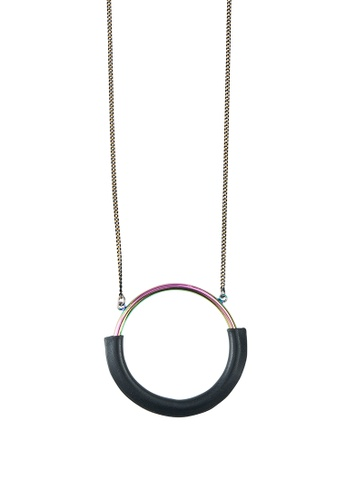 My Flash Trash multi Hologram Hoop Leather Necklace 7AB44ACF05C185GS_1