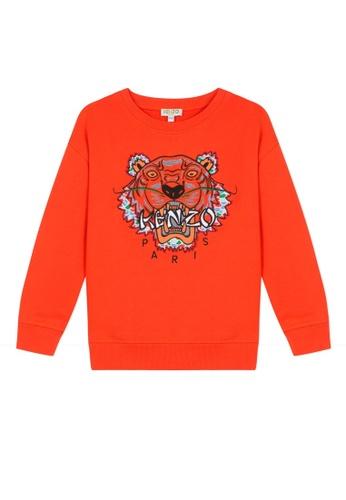 KENZO KIDS orange KENZO TIGER SWEATSHIRT FOR BOYS E3912KA343BAF5GS_1