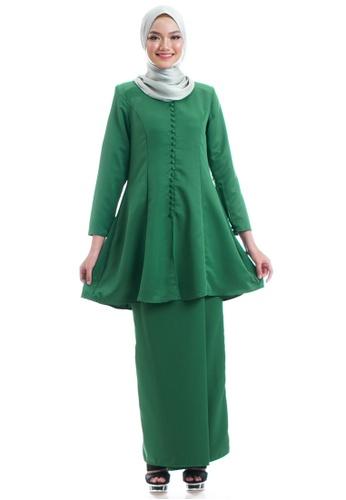 Ashura green Yesenia Kurung With Front Button C31D7AAB59DE68GS_1