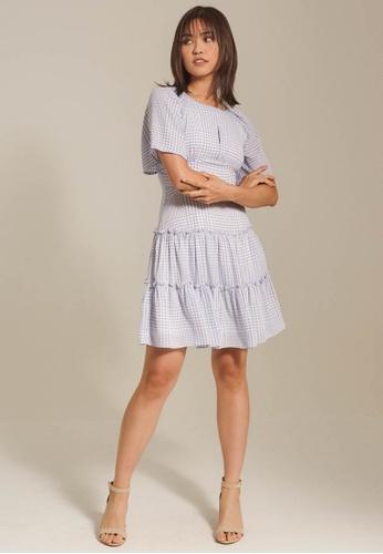 Dressing Paula blue Checkered Crepe Mini Dress 8DE46AAE40F906GS_1