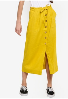 ea465b0fb21 Cotton On yellow Woven Molly Button Through Midi Skirt 7343DAA138B440GS 1