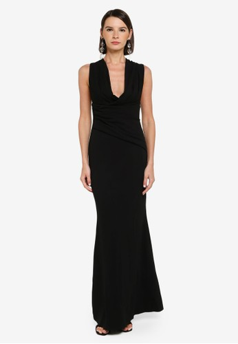 Goddiva black Back Bow Tie Scuba Crepe Maxi Dress 16956AA7957544GS_1