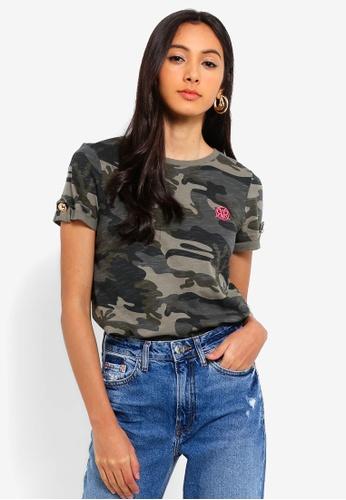 River Island multi Camo Print Rolled Sleeve T-Shirt 725EBAAB56B9B5GS_1