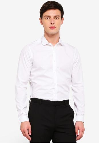 Burton Menswear London 白色 White Skinny Fit Easy Iron Shirt 4CCCBAAA12B1B2GS_1