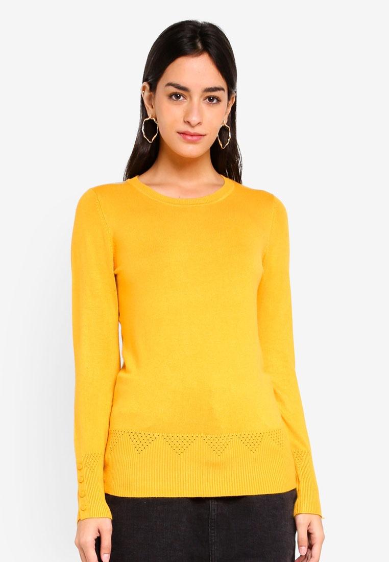 Perkins Jumper Yellow Ochre Dorothy Detail Cuff 8RIAxwcqd