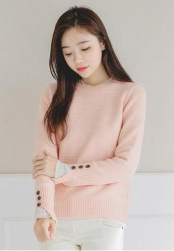 紐zalora 衣服尺寸扣細節圓領針織上衣, 服飾, 毛衣& 針織外套