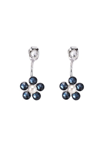 SO SEOUL blue and silver Front To Back Flower Montana Swarovski Earrings 32DFDAC8EB841AGS_1