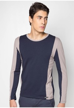 L/S Rn Tee in Color Blocking