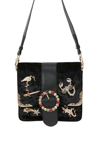 My Flash Trash black Baroque Animal Charm Boxy Bag 8A652ACE5A9A68GS_1