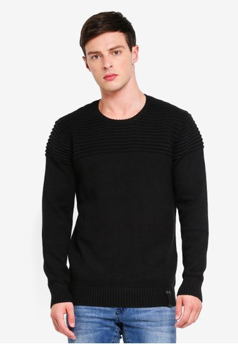 Indicode Jeans black Thibault Ribbed Knitted Sweater BF761AA74C1759GS_1