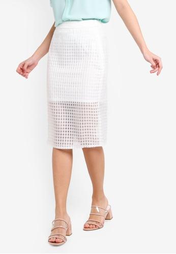 ZALORA 白色 透視層次格紋裙 B5692AA2D3558DGS_1