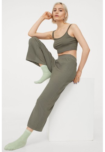 H&M green Ribbed trousers 03D57AAB4FD41FGS_1