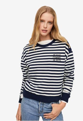 Mango blue Striped Cotton-Blend Sweatshirt FACB6AA2E83BA2GS_1