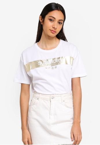 Superdry 白色 金屬感印花T恤 85BA4AAF99923DGS_1