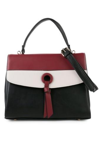 HUER black Faryi Color Blocking Satchel Bag 495DBAC96F04A4GS_1