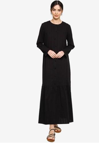 ZALIA BASICS black Basic Placket Dress 92E05AAE28FA8CGS_1