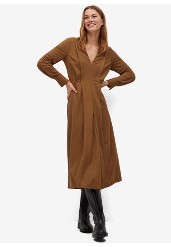 Mango brown Decorative Pleat Dress D9501AA6E6616CGS_1