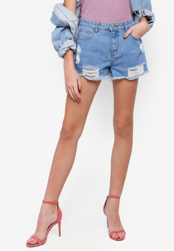 MISSGUIDED blue Riot Highwaisted Mom Two Toned Shorts 86746AA40DC0A0GS_1