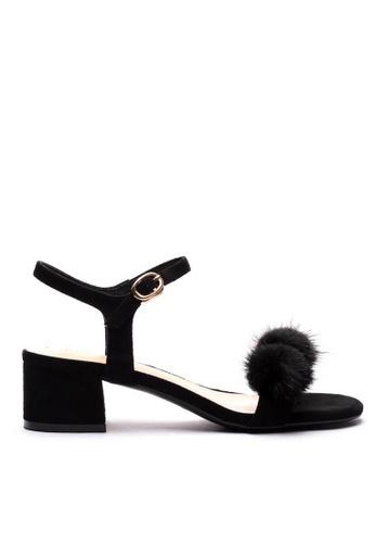 Twenty Eight Shoes black Fur Ball Ankle Strap Sandals 320-30 B737DSHB197C6DGS_1
