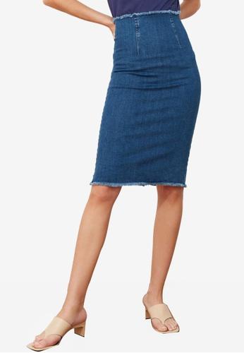 Trendyol blue Frayed Hem Denim Skirt 97897AA484D843GS_1