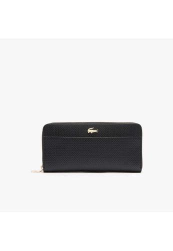 Lacoste black Lacoste Women's Chantaco Bicolour Piqué Leather 12 Card Zip Wallet-NF2739CE D507BAC1C26F35GS_1