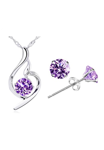 YOUNIQ silver YOUNIQ Wave 925 Sterling Silver Pendant with Cubic Zirconia Necklace & Earrings Set (Purple) YO999AC63NSQMY_1