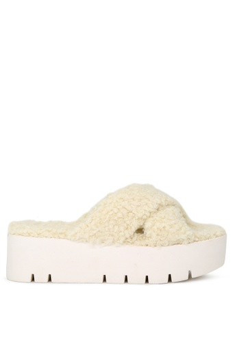 London Rag beige NATURAL Fur Cross Strap Flatform Sandals F6981SHF501856GS_1