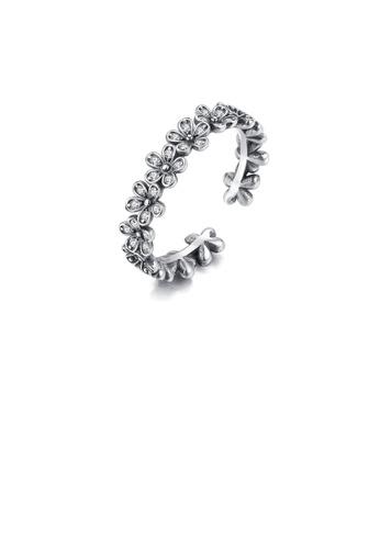 Glamorousky white 925 Sterling Silver Vintage Elegant Flower Cubic Zirconia Adjustable Open Ring 2C874AC76426C9GS_1