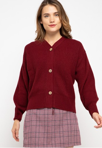 Noir Sur Blanc red Ladies Cardigan Long Sleeve 68802AAAB105DEGS_1