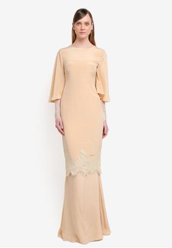 YADOTSA for ZALORA beige Adalia Sleeve Lace Kurung YA729AA0STH0MY_1