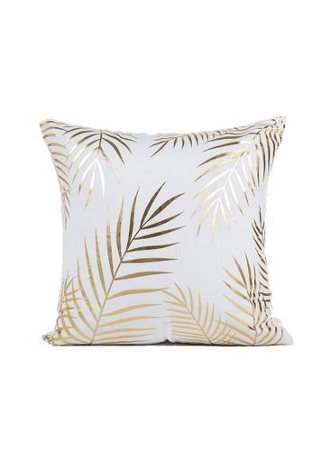 DILAS HOME Palm Leaf Gold Print Cushion Cover 5FE18HL5132AF5GS_1