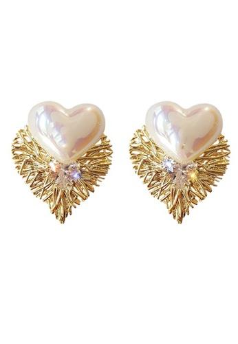Sunnydaysweety white Shiny Heart Stud Earrings CA030203W 05ADCAC0204C5FGS_1