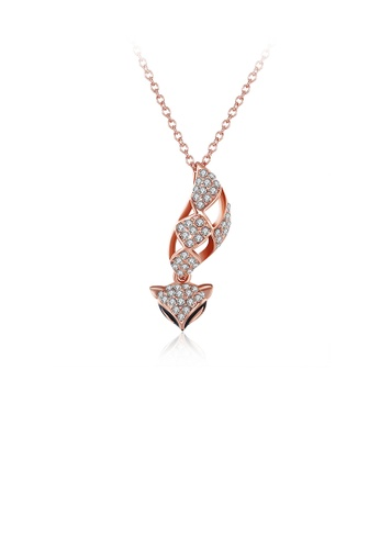 Glamorousky white Fashio Plated Rose Gold Fox Pendant with Austrian Element Crystal and Necklace 0F95AAC398D001GS_1