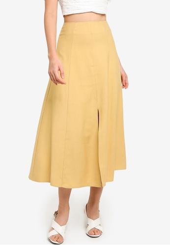 ZALORA BASICS yellow High Waist Midi Skirt With Central Slit 508C4AA8FB41E7GS_1