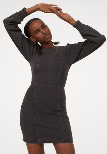H&M black Short Denim Dress C22C2AA46D194CGS_1