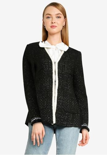 Urban Revivo black Contrast Long Sleeve Blazer 06775AADDEB27EGS_1