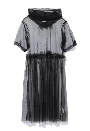 Mini cream black Hooded tulle dress 49761AA36EC94BGS_1