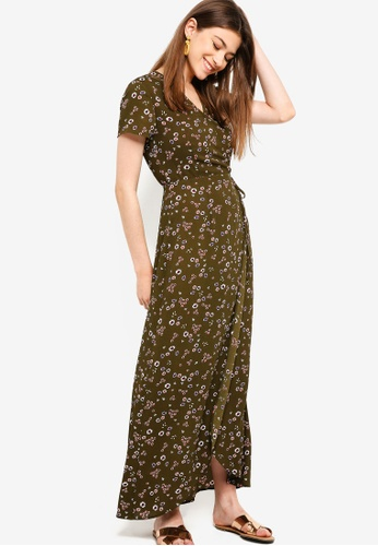 Something Borrowed green Short Sleeves Wrap Maxi Dress C5391AA57344BBGS_1