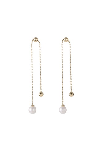 Nia Golden Beads And Pearl Linear Chain
