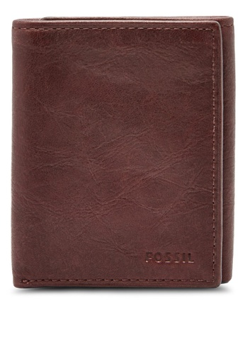 Fossil brown Fossil Ingram RFID Trifold Wallet ML3785200 FO164AC85CEOMY_1